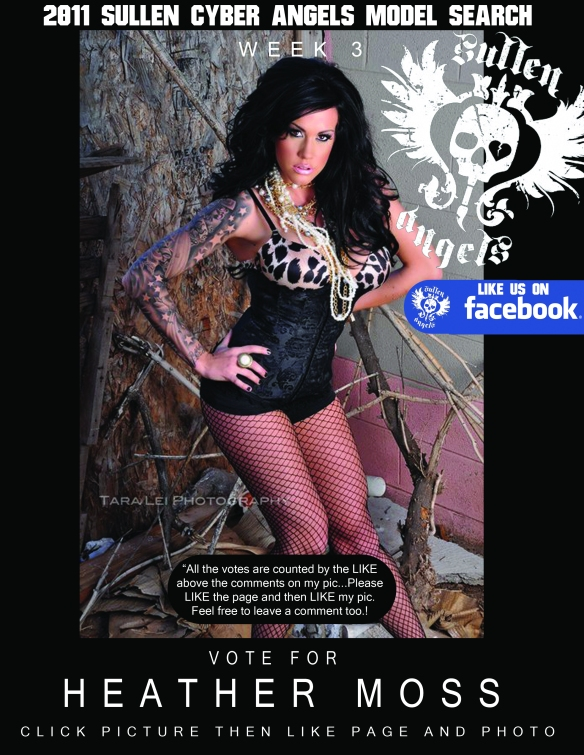 VOTE FOR HEATHER MOSS BY CLICKING THIS LINK that takes you straight the the Sullen Angels Cyber Search http://www.facebook.com/photo.php?fbid=212757635403212&set=a.212757458736563.58613.180611828617793&theater once you like the link then like the photo in the album