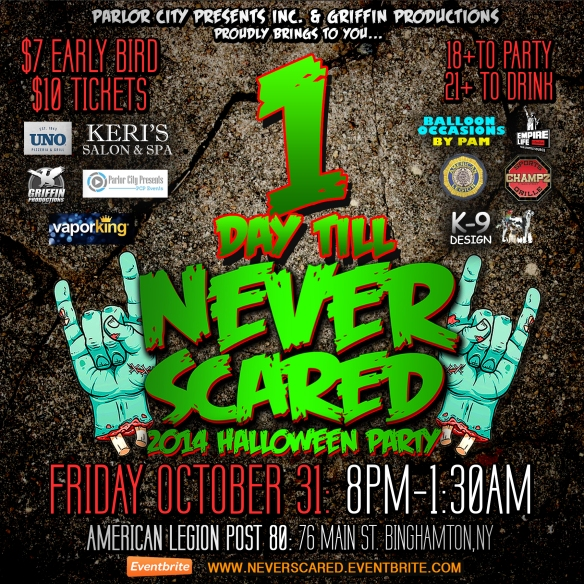 1 day till never scared halloween party